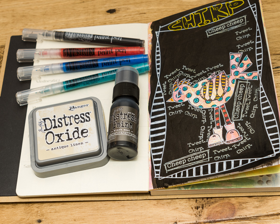 Ranger art journal along side Dylusion paints pens, Tim Holtz Distress Oxide ink and Distress paint that was used to create the page.