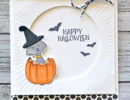 Happy Halloween card designed by Jamie Gracz featuring Avery Elle Halloween themed stamps with a cat in a pumpkin.