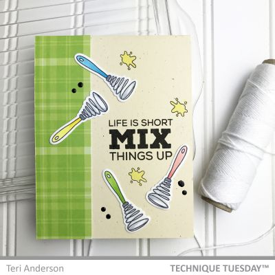 Card Making ideas from Technique Tuesday - scrapbook card with cooking stamps.