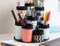 Altered desk organizer made out of paper towel cardboad rolls for holding pens, paintbrushes etc featuring Plaid products.