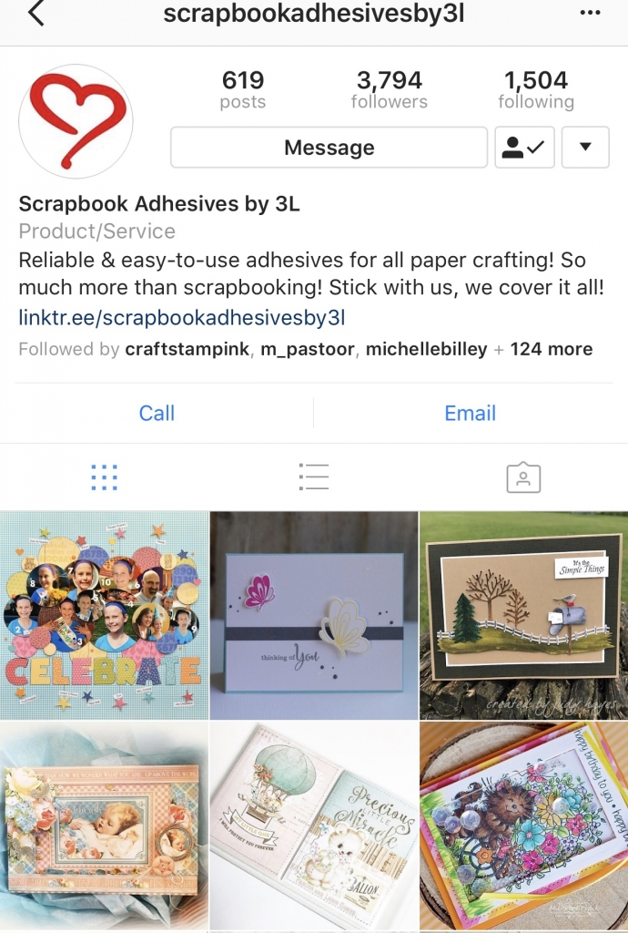 Screen capture of Scrapbook Adhesives by 3L instgram home page.