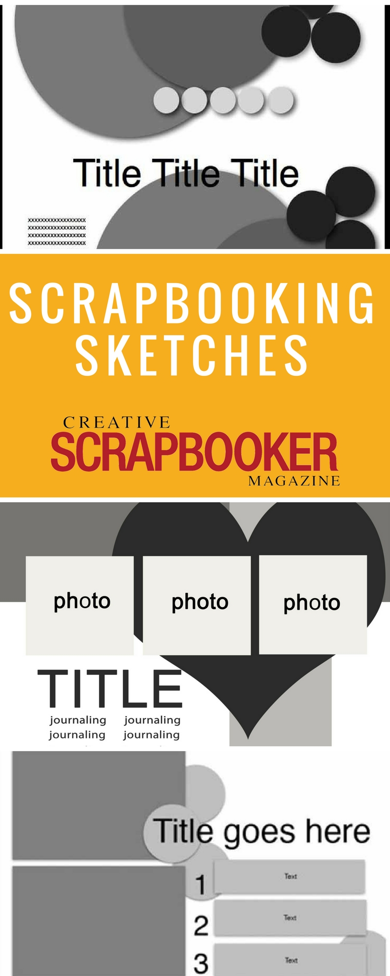Scrapbooking sketches for cards, layouts, art journals and more.