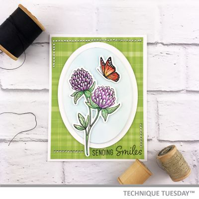 Card Making ideas from Technique Tuesday - scrapbook card with flower and butterfly stamps.