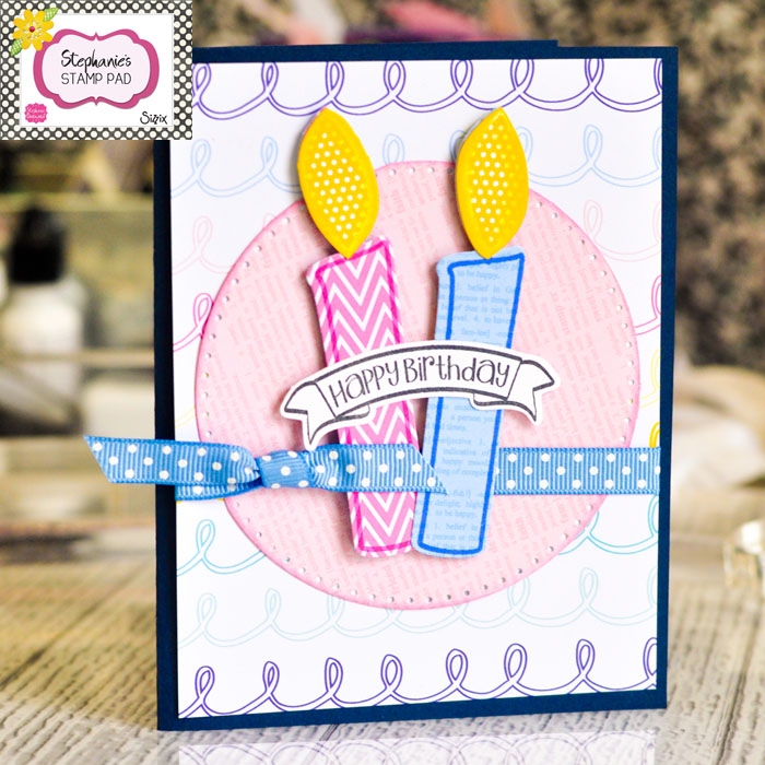 Scrapbooked birthday card featuring Stephanie Barnard The Stamps of Life collection