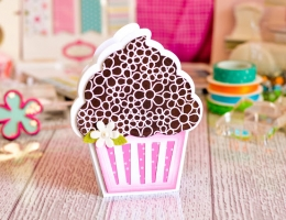Super cute scrapbooked cupcake shaped card featuring The Stamps of Life by Stephanie Barnard collection.