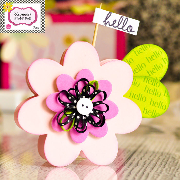 Super cute scrapbooked flower card featuring Stephanie Barnard The Stamps of Life products.