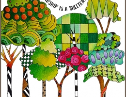 Colouring illustration designed and coloured by Betty Hung featuring Tombow Dual Brush pens of whimsical trees including a friendship quote.