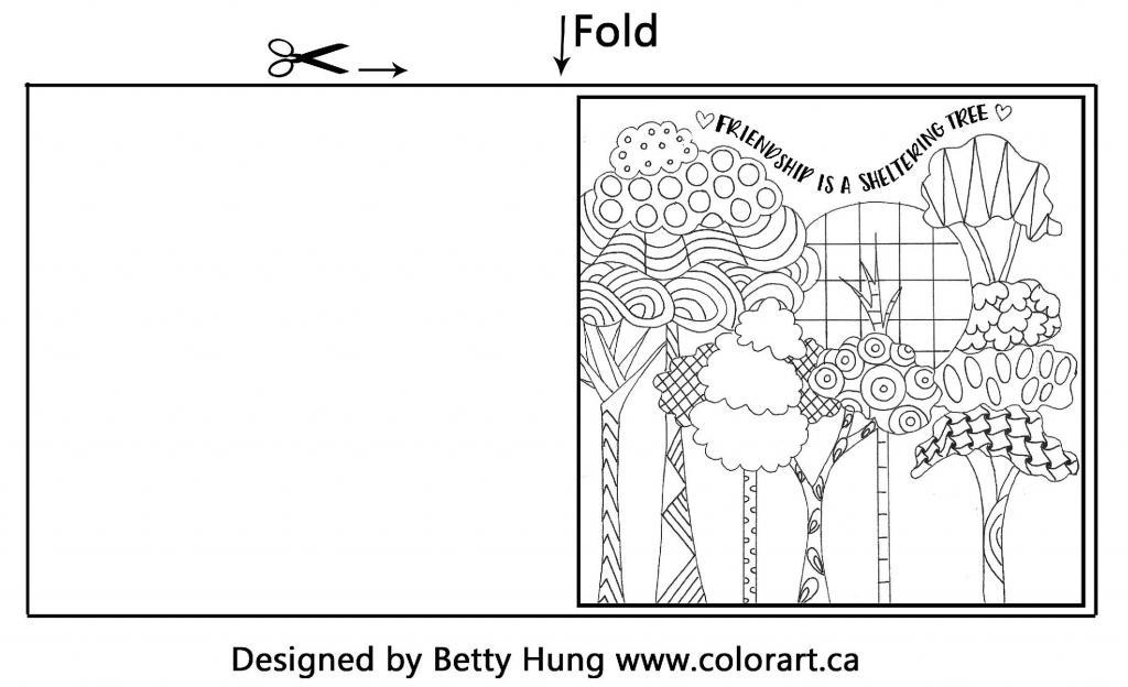 Free coloring Card template designed by Betty Hung of whimsical tree and a friendship quote