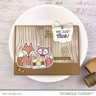 Card Making ideas from Technique Tuesday - scrapbook card with animal stamps.