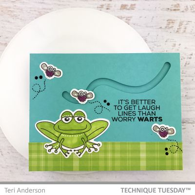 Card Making ideas from Technique Tuesday - scrapbook card with frog and bug stamps.