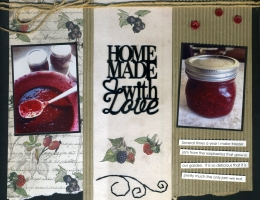 Scrapbook layout featuring FabScraps Mother Earth Collection about the memories of making homemade jam.