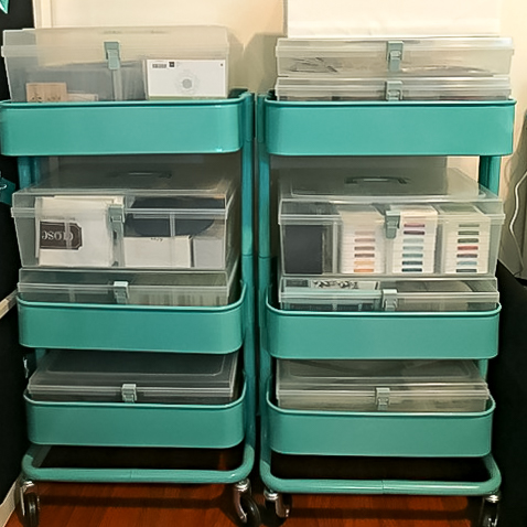turquoise ikea carts for scrapbooking supply storage