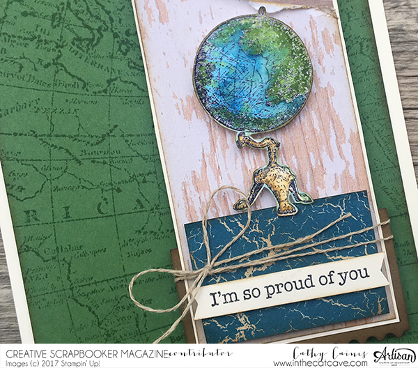 Close up of Cathy Caines scrapbook card featuring Stampin' Up!