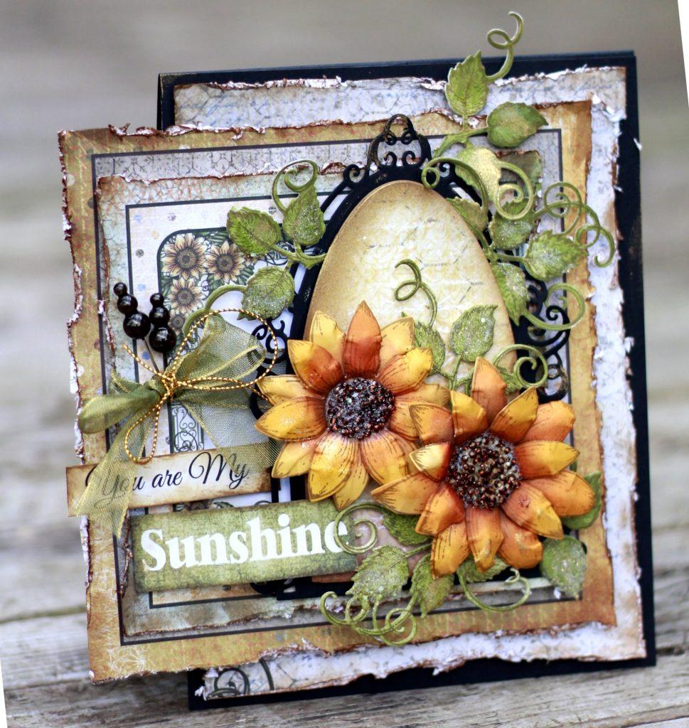 Card Making | Sunflower | Fall Scrapbook Card | Stamping | Featuring Heartfelt Creations | Designed by Karan Gerber | Creative Scrapbooker Magazine