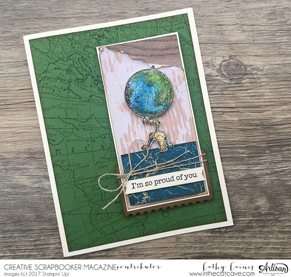 Scrapbook Card | Card Making | Featuring Stampin' Up! | Designed by Cathy Caines | Creative Scrapbooker Magazine