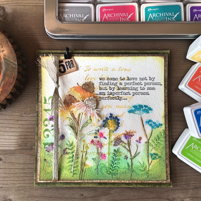 Scrapbook Card | Featuring Ranger Mini Archival Ink | Designed by Nicole Wright