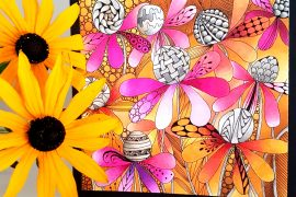Adult Coloring | FREE Coloring Card | Featuring Chameleon Color Tops | Designed by Betty Hung | Creative Scrapbooker Magazine