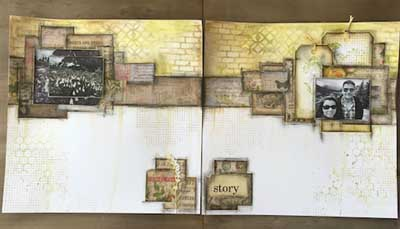 Double Page Scrapbook Layout | Mixed Media | Featuring Ranger | Nicole Wright | Creative Scrapbooker Magazine