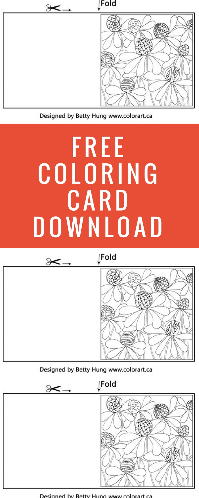 FREE Coloring Card | Designed by Betty Hung | Adult Coloring | Card Making | Creative Scrapbooker Magazine