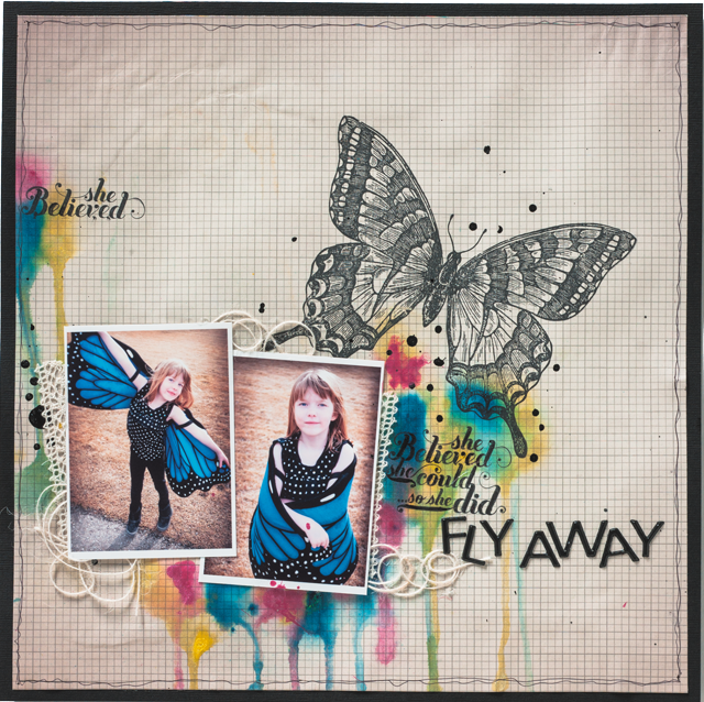 Scrapbook Layout | Featuring Izinks Distributed by Clearsnap | Designed by Christy Riopel | Creative Scrapbooker Magazine