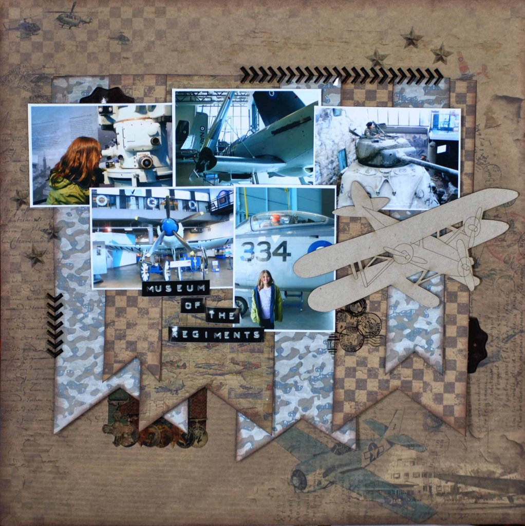 Scrapbook Layout | 12X12 Layout | Military Themed Scrapbook Page | Christy Riopel | Creative Scrapbooker Magazine