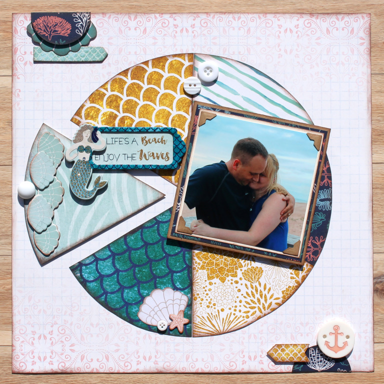 Scrapbooking Layout | Based on a Sketch | Featuring BoBunny Down By The Sea | Designed by Tracy McLennon | Creative Scrapbooker Magazine