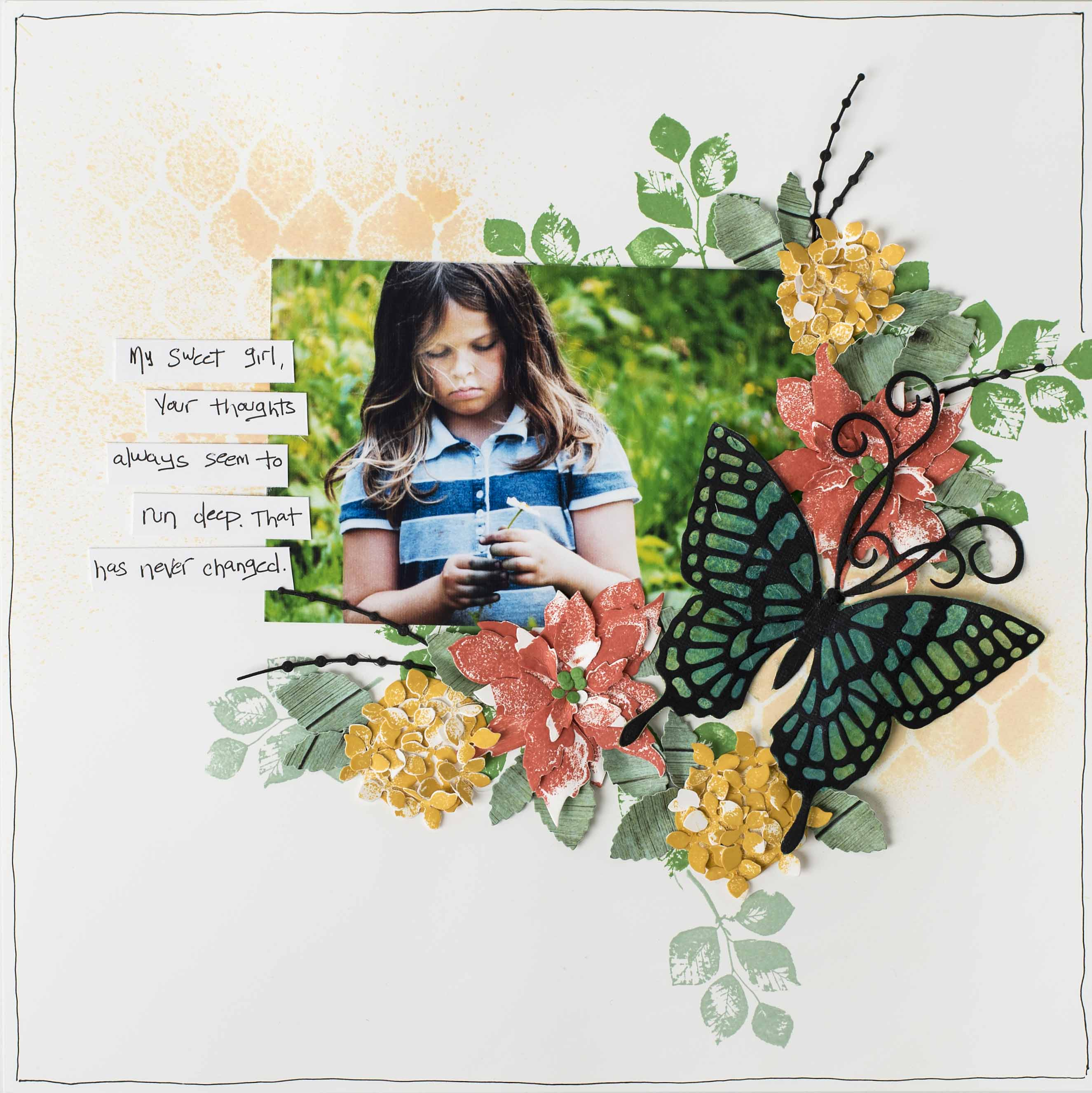 Scrapbook Layout | Featuring Stampin' Up! | Creating a Stained Glass Like Effect | Designed by Christy Riopel | Creative Scrapbooker Magazine