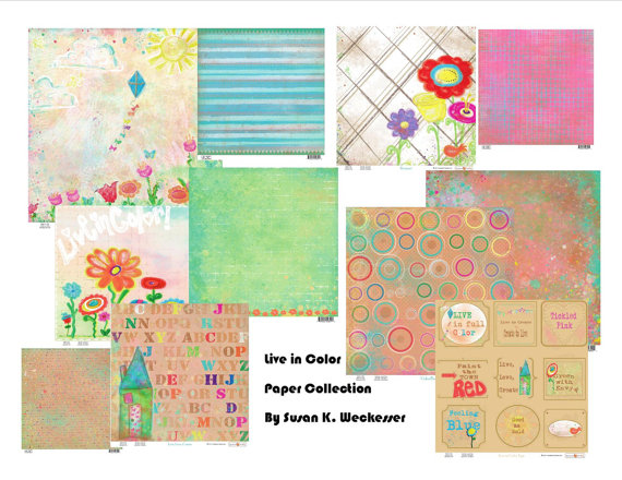 Collection of 12X12 patterned paper designed by Susan Weckesser