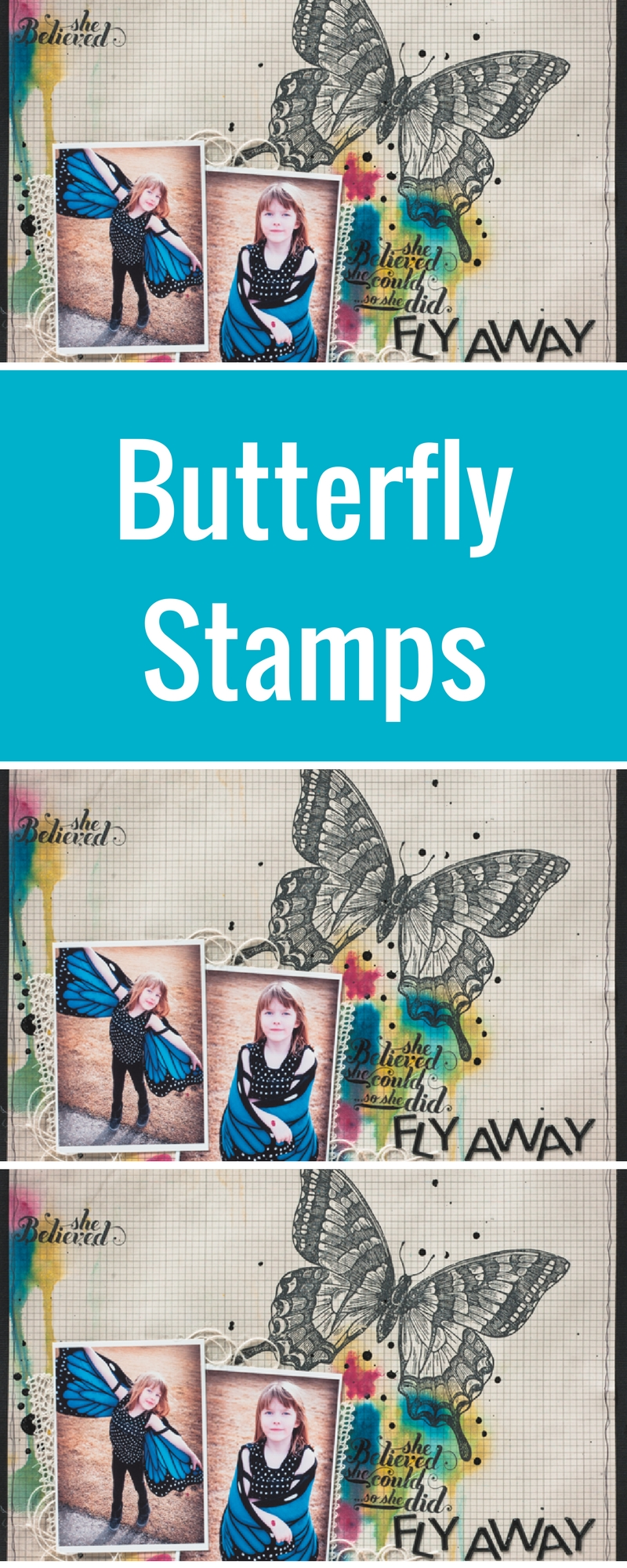 Scrapbook Layout | Scrapbooking Ideas | Butterfly Stamp by Stampin' Up! | Layout Designed by Christy Riopel | Featuring Izinks Distributed by Clearsnap | Creative Scrapbooker Magazine