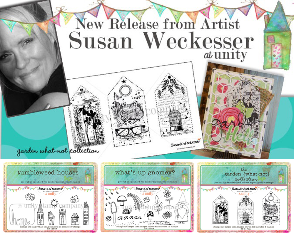 An assortment of Susan Weckesser cling foam stamps by Unity Stamp Co.