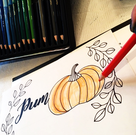Creative Scrapbooker Magazine features Kelly Klapstein Kelly Creates and Chameleon Pens, Colouring, Pumpkin Fall Home Decor, Pumpkin Spice Handlettered Lettering project