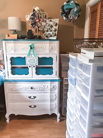 Where You Create / Sandra Dower / gorgeous painted dresser and cabinet / beautiful storage