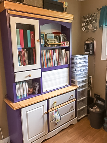 Where You Create / organized storage cabinet painted white and purple / storage for books, albums and magazines / Sandra Dower