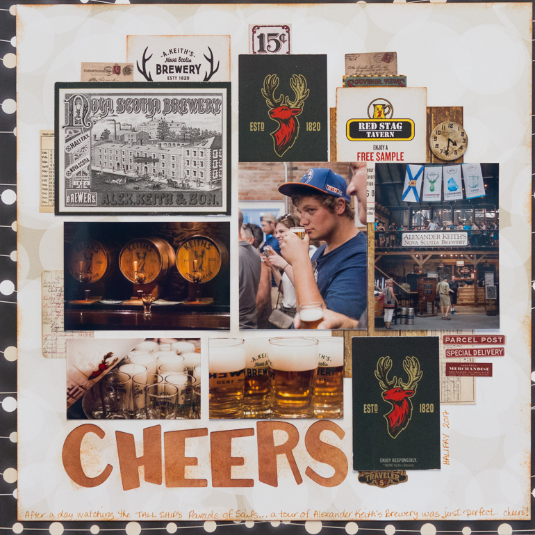 STABILO/Creative Scrapbooker Magazine team member/scrapbooklayout/cheers/Bo Bunny patterned paper/Tim Holts ideology tags