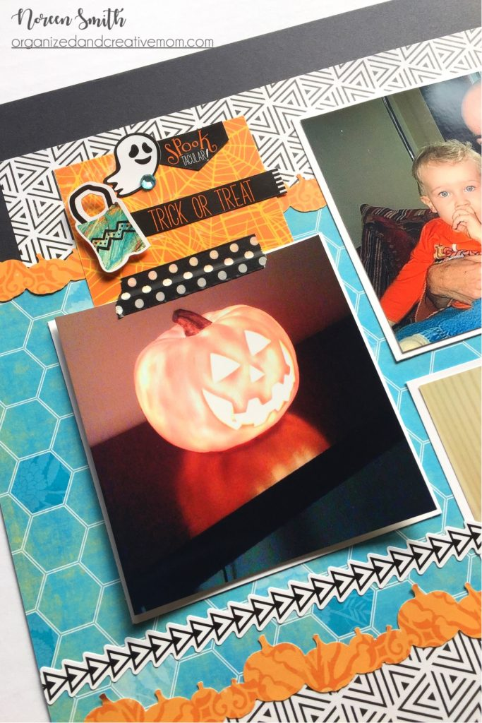 Double Page Halloween Layout featuring Creative Memories Toil and Trouble Collection | Designed by Noreen Smith | Creative Scrapbooker Magazine #halloween #doublepagelayouts #scrapbooking