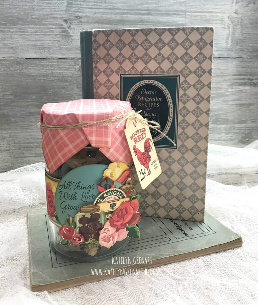 Altered Gift Jar   Featuring Carta Bella Country Kitchen Collection   Designed by Katelyn Grosart   Echo Park Paper Co.   Creative Scrapbooker Magazine #echopark #altering #giftjars