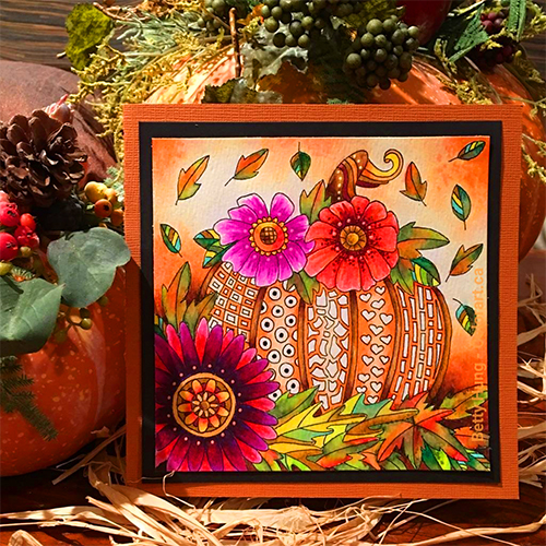 Pumpkin Illustration Designed by Betty Hung | Featuring Sakura Koi Waterbrush pens and Gelly Rolls | Adult Coloring | Creative Scrapbooker Magazine #coloring #adult