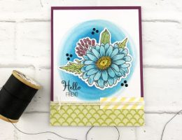 Hello-Friend-Blue-Daisy-Handmade-Card-Teri-A-Technique-Tuesday