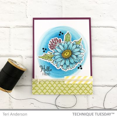Hello-Friend-Blue-Daisy-Handmade-Card-Teri-A-Technique-Tuesday