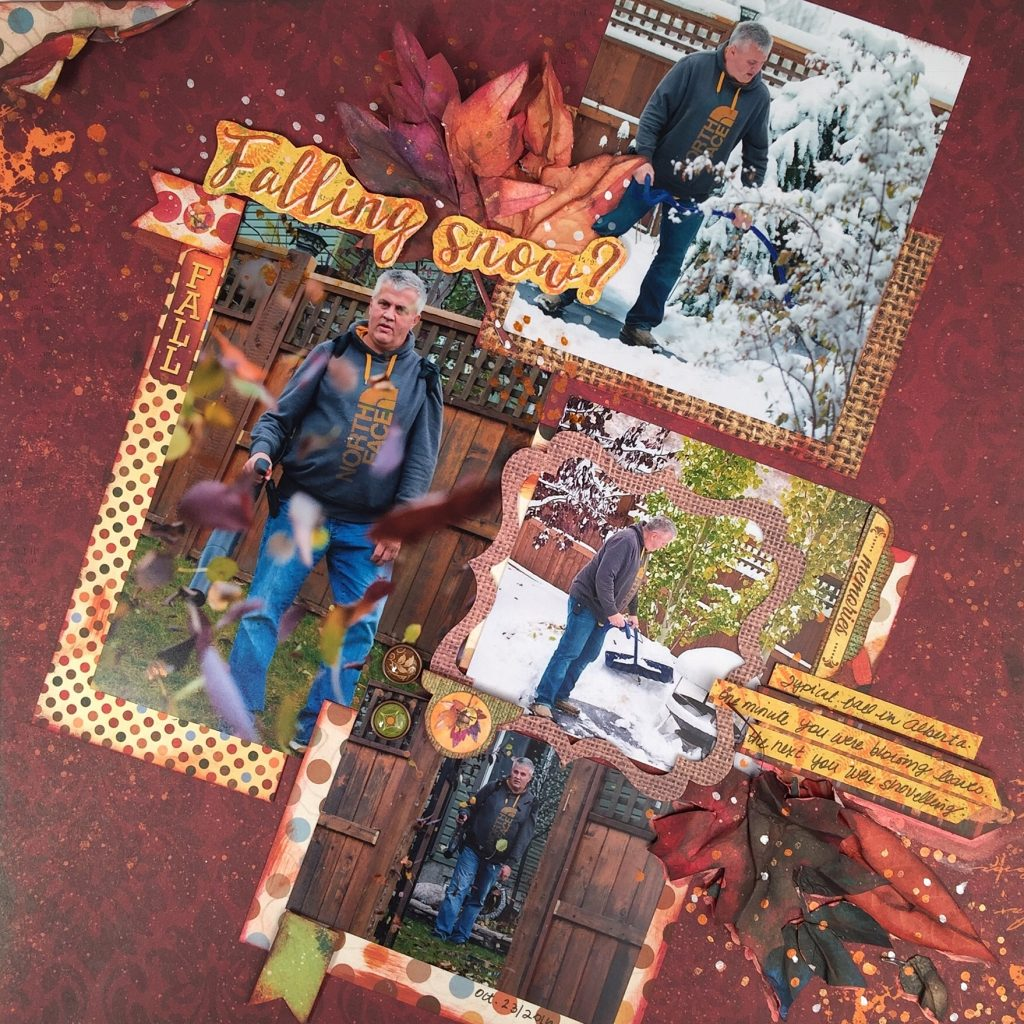 Scrapbook Layout | Featuring BoBunny Dreams of Autumn Collection | Designed by Kerry Engel | Based on a 12X12 Sketch #sketches #scrapbooking #2x12layout