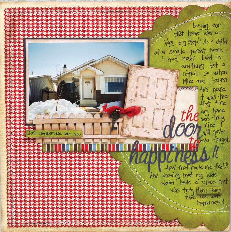 Scrapook Layout Designed by Christy Riopel Featuring Machine Sewing | Creative Scrapbooker Magazine #scrapbooking #12X12layout #rememberingchristy