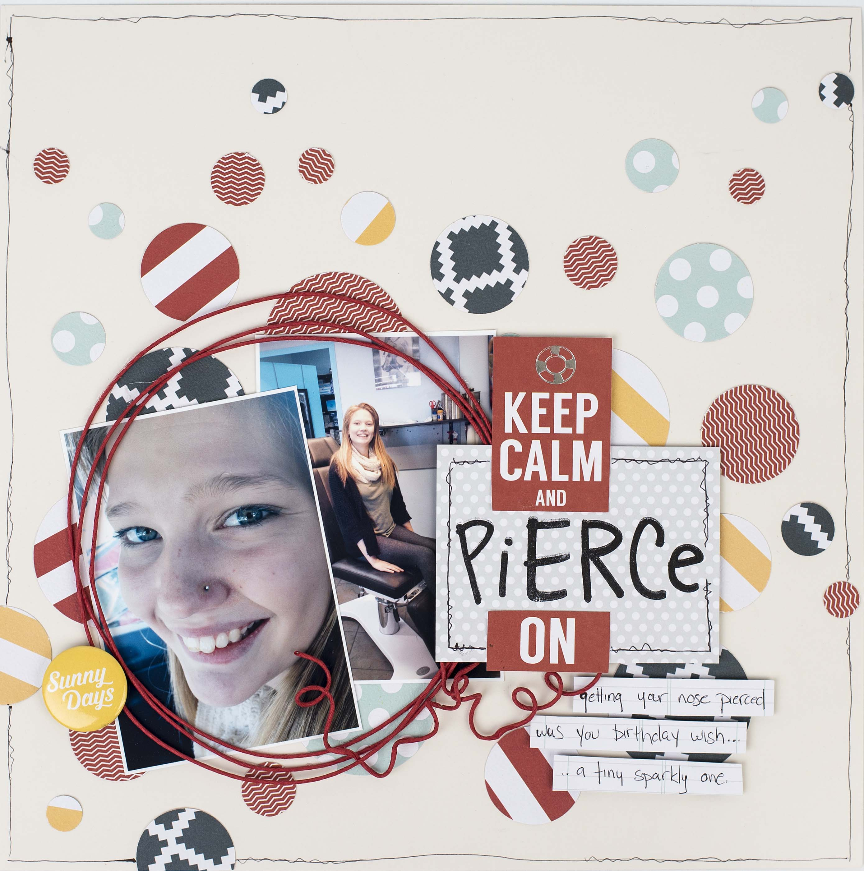 Scrapbook Layout Featuring Stampin' Up! Circle Punches | Designed by Christy Riopel | Creative Scrapbooker Magazine #scrapbooking #punches