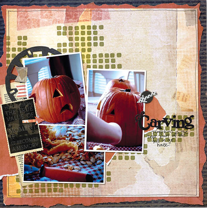 Scrapbooking layout Designed by Christy Riopel using Scrapbook Adhesives by 3L 3D Foam Squares as stamps.