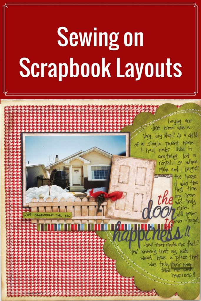 Scrapbook Layout featuring machine sewing | Designed by Christy Riopel | Creative Scrapbooker Magazine  #rememberingchristy #scrapbooking #12X12layout