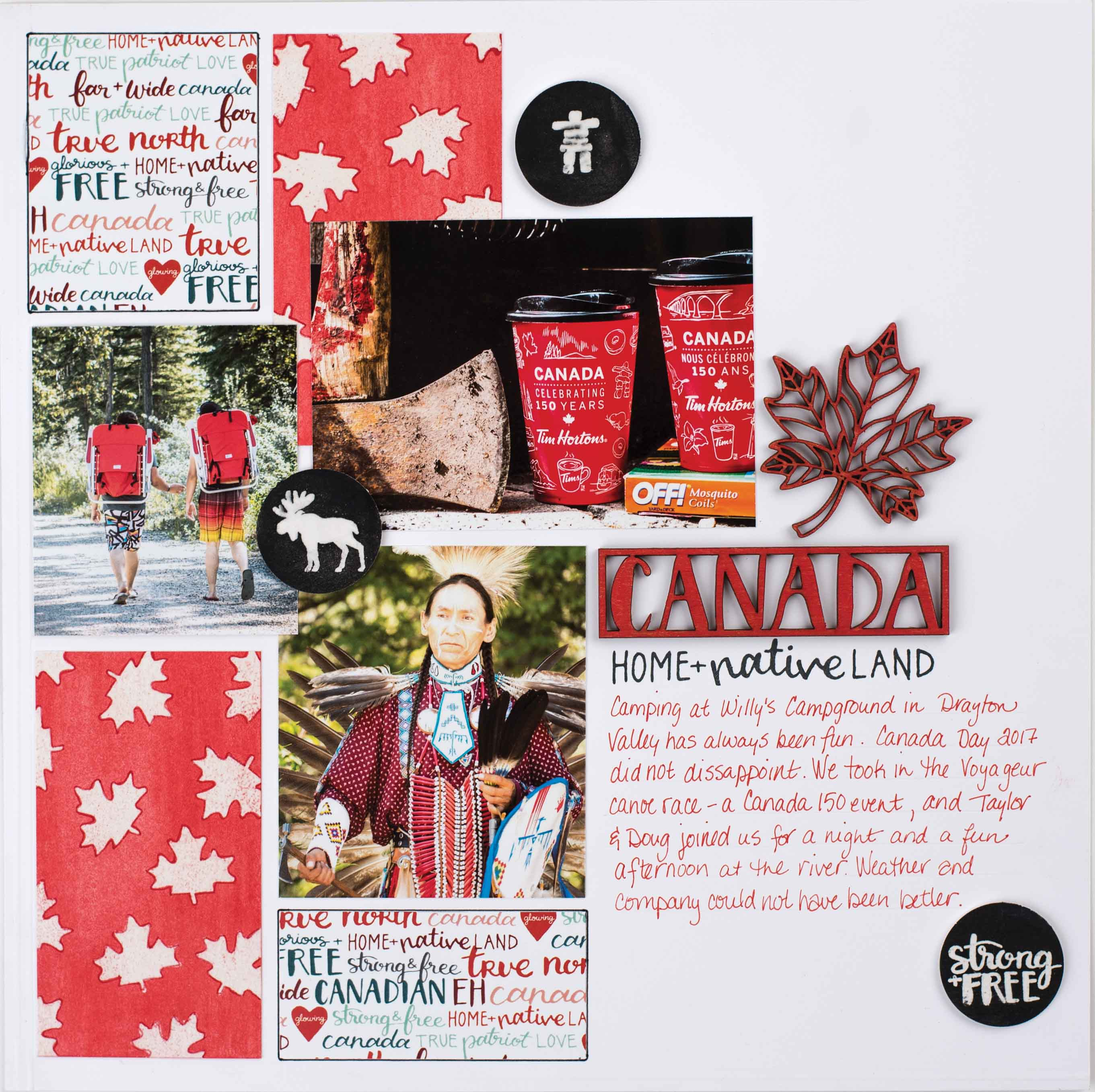 Canadian Themed Scrapbook Layout | Featuring Wild Whisper Designs Straon & Free Collection | Designed by Kim Gowdy | Creative Scrapbooker Magazine #scrapbooking #wildwhisper #canadian