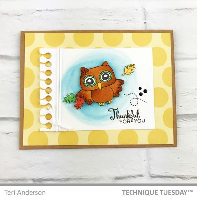 Scrapbook Card Featuring Technique Tuesday Thankful Owl Stamp Set