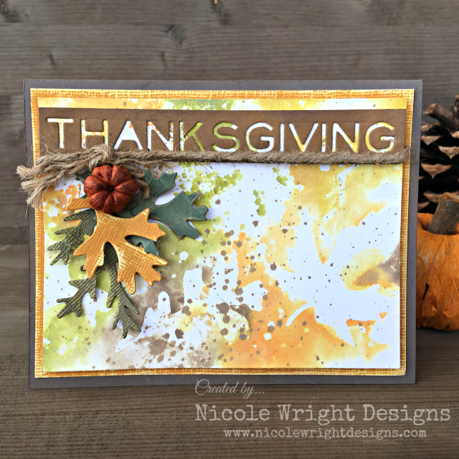Thanksgiving Card | Scrapbook Card | Featuring Ranger Oxide inks | Designed by Nicole Wright | Creative Scrapbooker Magazine #thanksgiving #cardmaking #scrapbooking