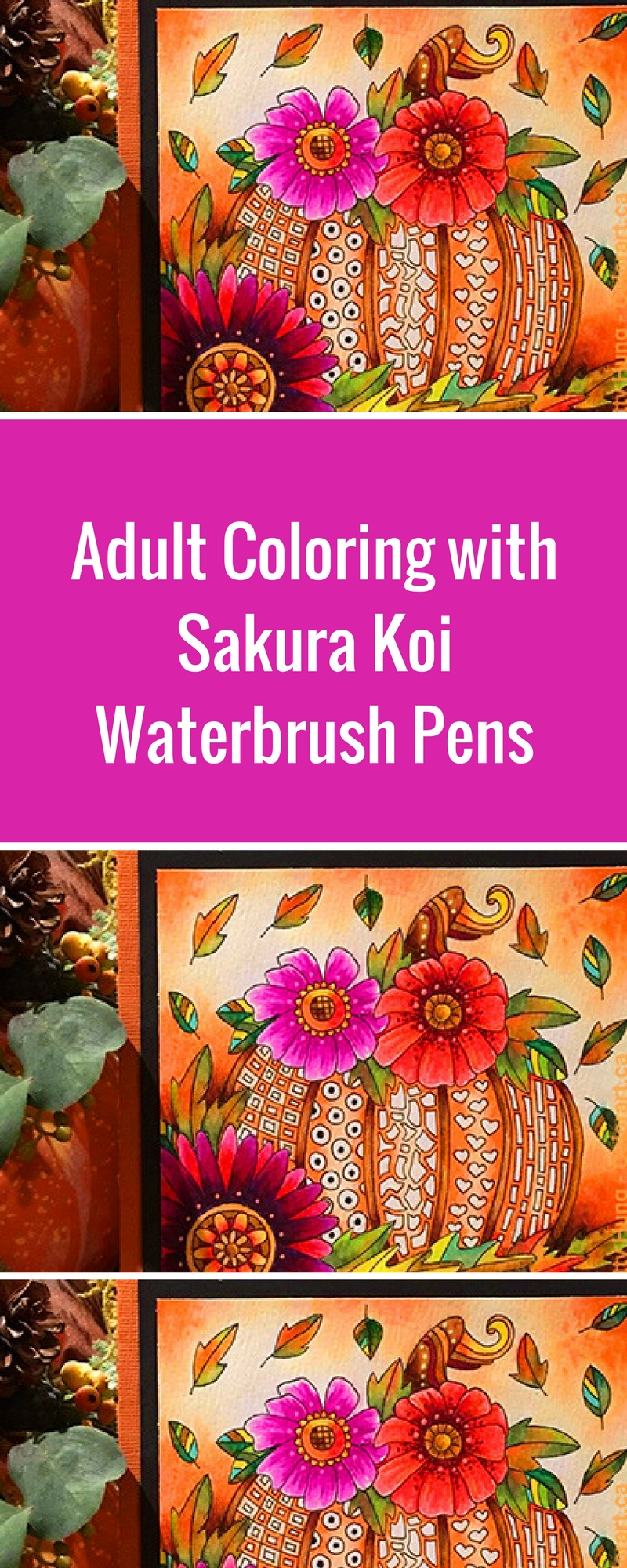 Free Coloring Card | Template | Designed by Betty Hung | Featuring Sakura Koi Waterbrush pens and Gelly Rolls | Creative Scrapbooker Magazine #adult #coloring #free #templates