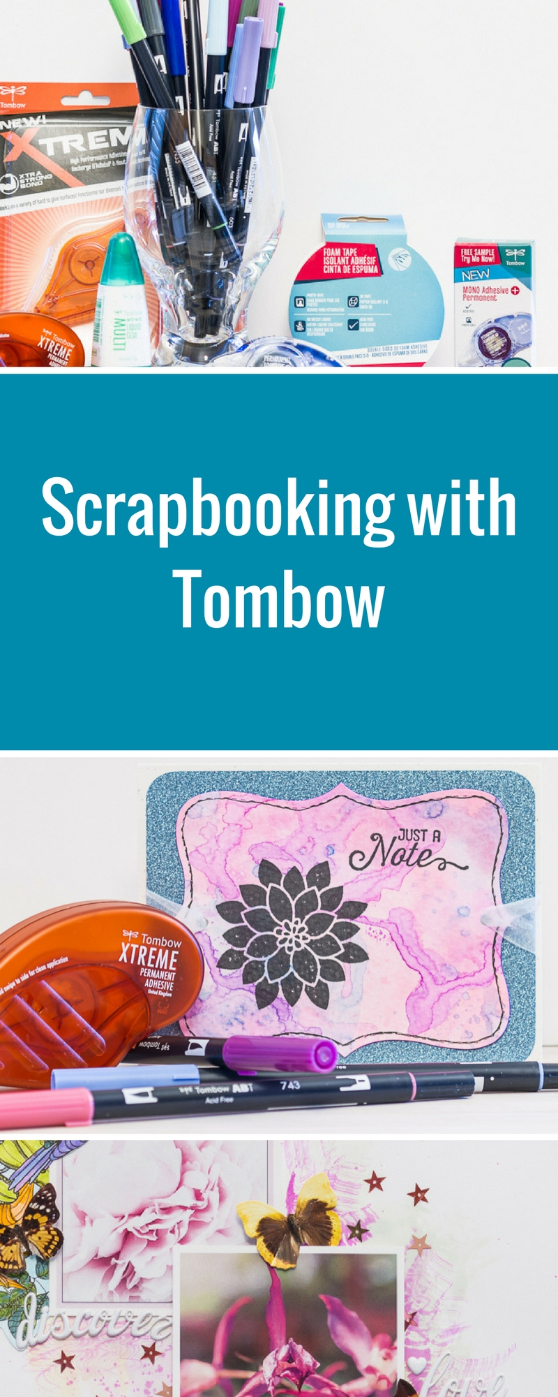 Tombow Scrapbooking Products | Projects Designed by Kim Gowdy | Creative Scrapbooker Magazine #coloring #scrapbooking
