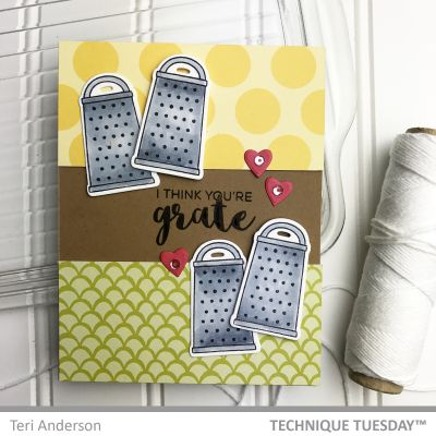 Scrapbook Card Featuring Technique Tuesday Kitchen Sentiments stamp set